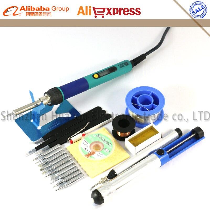 CXG EU Digital LCD ajustable soldador eléctrico 936 kit de estación de soldadura kit de reparación de soldadura conjunto de pinzas/punta de soldadura