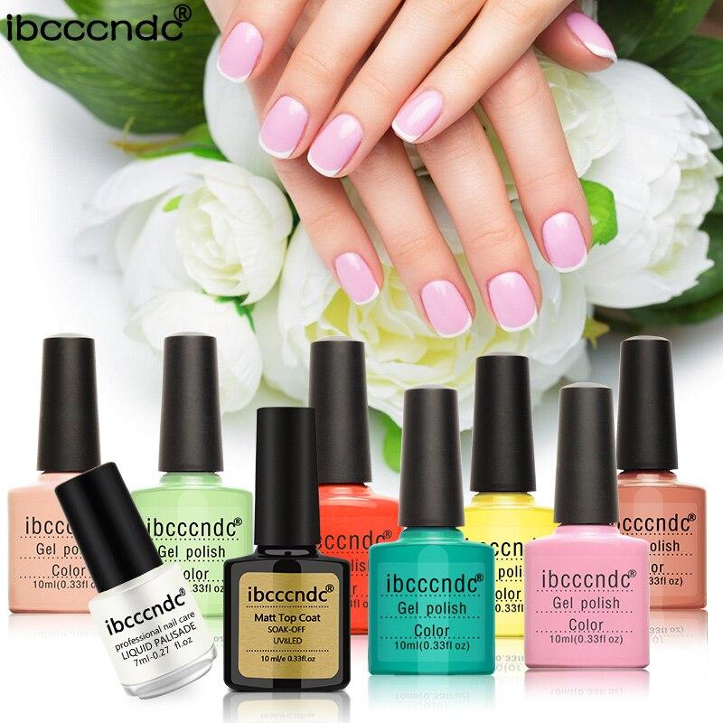 IBCCCNDC Nail Art Set 7 Color 10ml Nail Gel polish + Matte Top Coat + Liquid Palisade Nail Polish Set