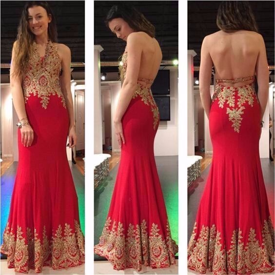 8c846a7e5a80 Red Mermaid Evening Dress Gold Appliques Lace Accents Sleeveless Elegant  Evening Dresses Prom Gown Vestidos