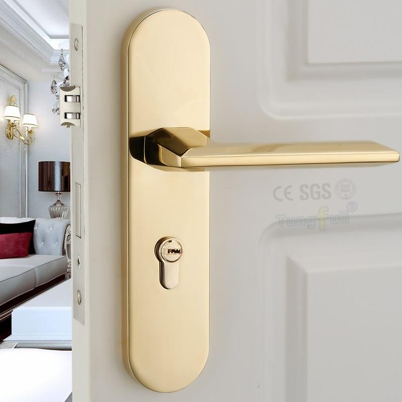 ФОТО PVD Gold Color Handle Design  Copper Core Hardware Lockset Mechanical Split Handle Lock