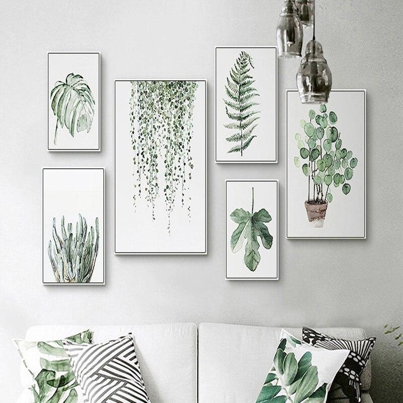 3 PCS/LOT scandinave petit frais vert plante décoration peintures salon moderne Simple peintures maison décoration produits