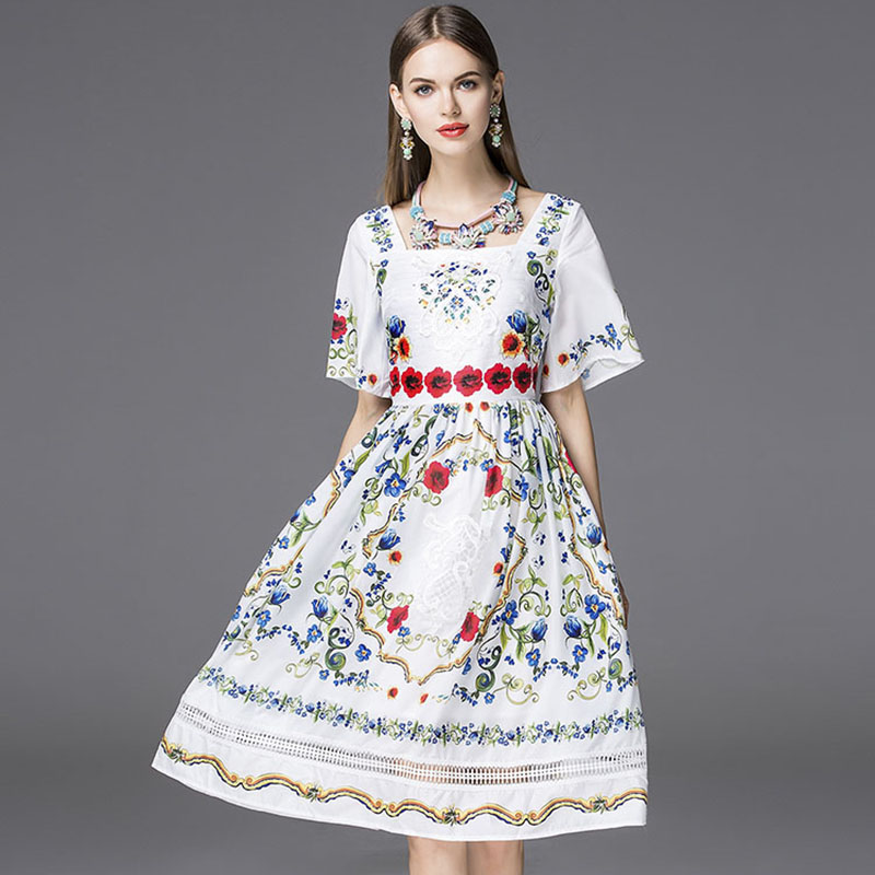 Summer Dress 2016 Bohemia Fashion New Daily Short Flare Sleeve Embroidery New Floral Print Vintage Hollow