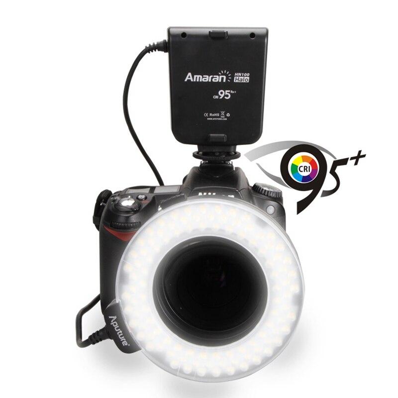 Aputure hn100 CRI 95 + Amaran Halo LED Кольцевая вспышка для Nikon D7100 D7000 D5200 D5100 D800E D800 D700 d600 D90 DSLR Камера