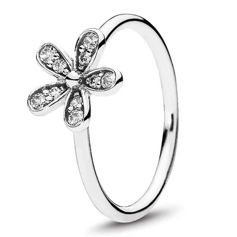 Novidade senhora prata chapeado anel daisy flor casamento anel crisântemo noivado jóias entrega direta da fábrica
