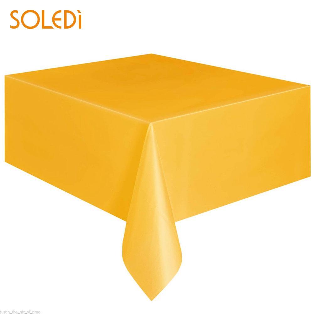 SOLEDI 20 цветов мягкий настольный бегун скатерть пластиковые товары для дома одноразовая скатерть для стола украшение стола - Цвет: Цвет: желтый