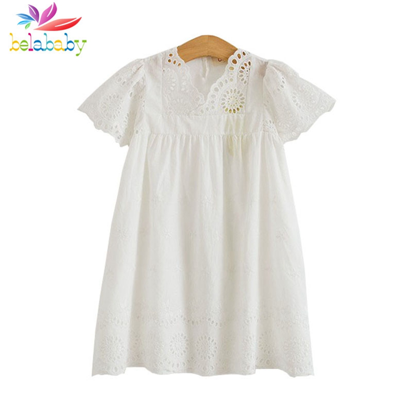 Belababy Girl Cotton Lace Dress For Kids Summer New Children Clothes White Lace Floral Princess Cute Thin Dress Size 3-7y cotton lace girls dress kids 2018 spring new children clothing kids clothes white lace princess korean cute thin dress size 3 14