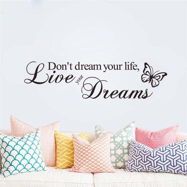 Não sonhe sua vida viver seus sonhos adesivos de parede quarto decoração adesivo de paredes zooyoo8142 vinyl início decal mural arte