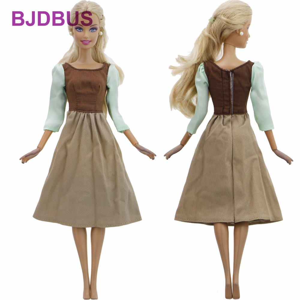 Handmade Fairy Tale Dress Copy Cinderella Maid Skirt Daily Wear Long Sleeves Gown Clothes For Barbie Doll Accessories Kids Gifts the daily village perfect canada white skirt turquoise barely there tops wear hollywood miss picture universe panache bikini