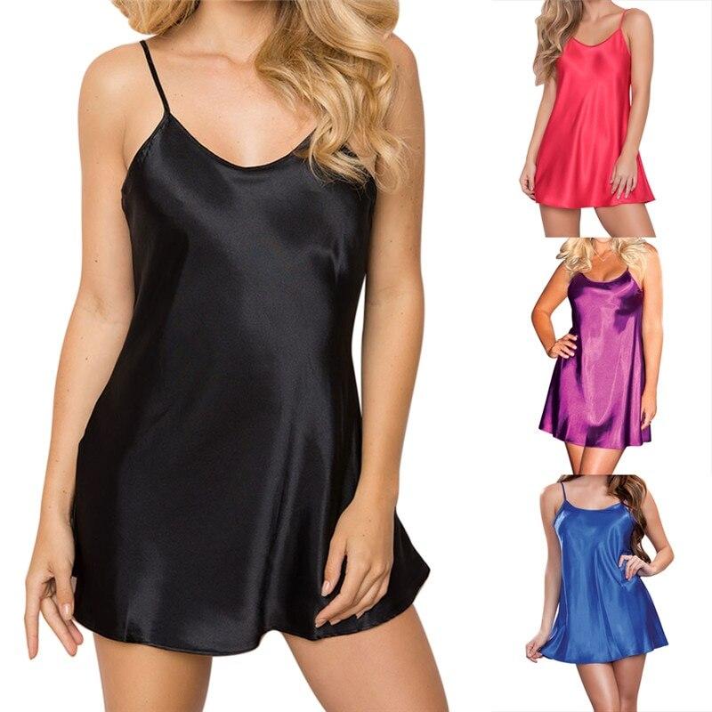 Fashion Short Satin Sleepwear Ladies Sexy Lingerie Sleepdress Solid Strap Babydoll Nightdress Mini   Nightgown     Sleepshirts   New