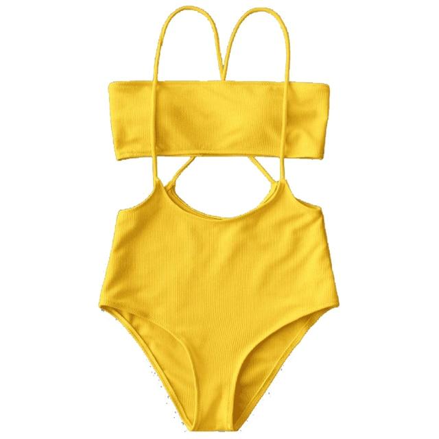 6b1a8fe320 Phinikiss Bandeau Top And High Waisted Slip Bikini Bottoms Swimwear Women  Yellow Ribbed Cross Back String Bikini Set Swimsuit