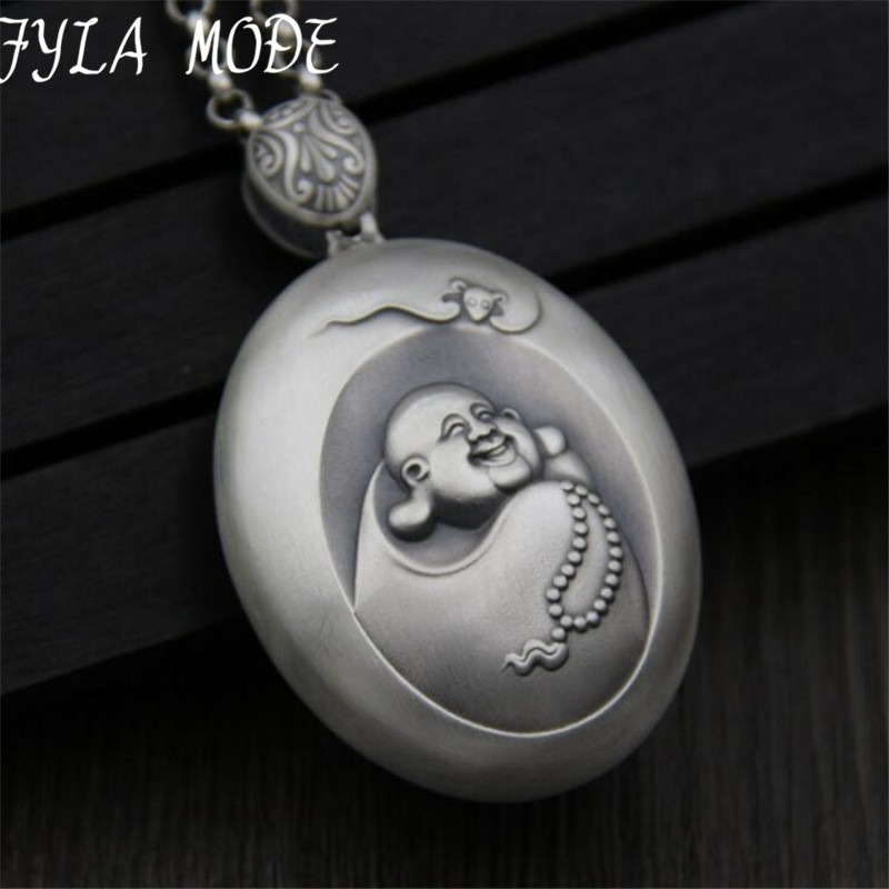 NEW S999 Sterling Silver Necklaces Pendant Fashion Thai Silver Smile Maitreya Buddha Pendant For Women Men Vintage 54*40MMNEW S999 Sterling Silver Necklaces Pendant Fashion Thai Silver Smile Maitreya Buddha Pendant For Women Men Vintage 54*40MM