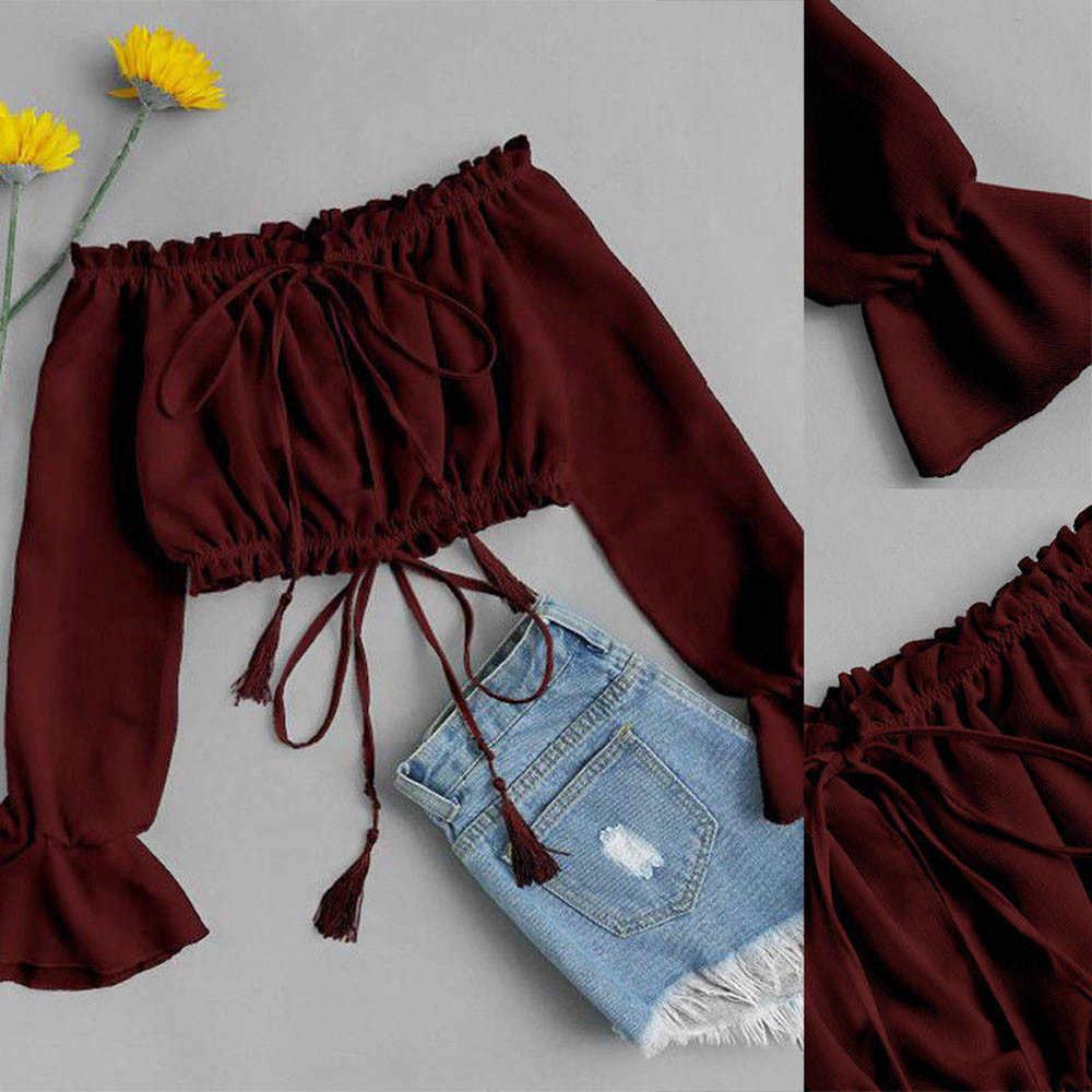 2019 kobiety bluzki letnie topy damskie odzież Sundress Off ramię szyfon drukuj bluzka z długim rękawem topy ubrania koszula