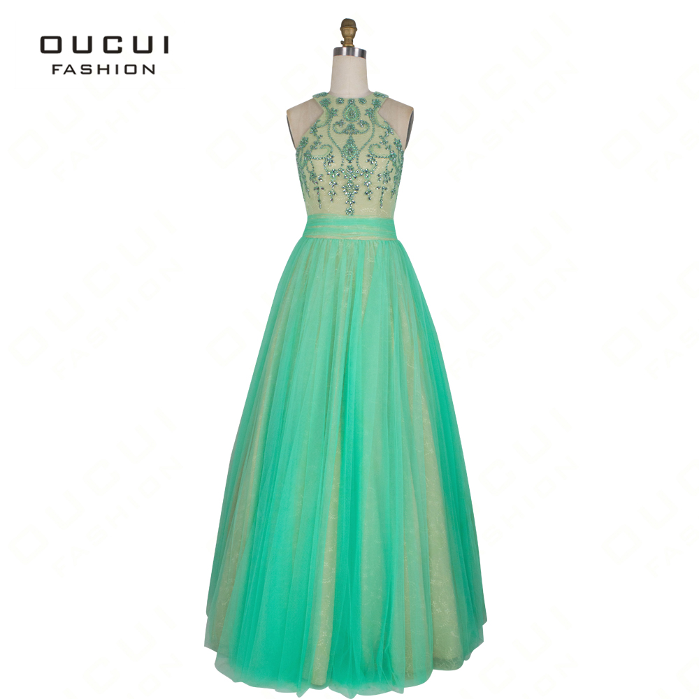 Real Photo Rhinestone Tulle   Prom     Dresses   2019 Halter Floor-length Lace A-Line   Dress   Party Gown Vestidos Sexy Backless OL102766