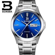 Оригинал Швейцария роскошные часы мужчин бренд Бингер кварцевые полный нержавеющей Стали Наручные Часы Водонепроницаемый Полный Календарь, Часы