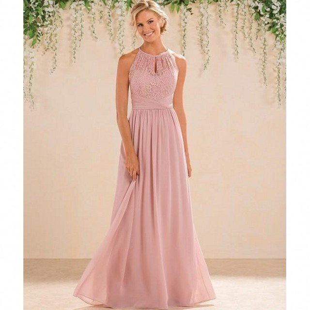 e8d0a44656e 2017 Dusty Pink Bridesmaid Dresses Long Country Style Halter Neck Lace  Chiffon Full Length Formal Wedding Guest Party Dress
