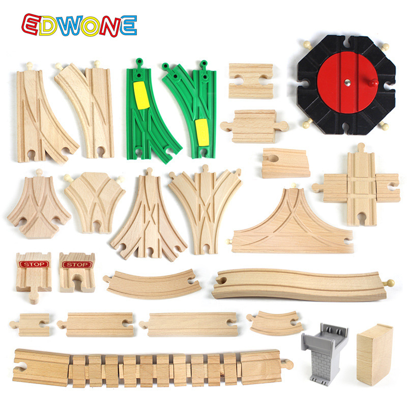 Wooden ThoMasING Track Wooden Railway Accessories Train Track set Work with Thomas and Friends Tracks All Major Brands of Trains