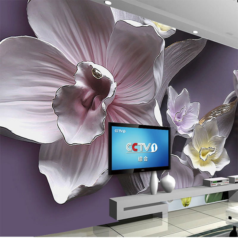 Custom Any Size Wallpaper Mural Modern 3D Flower Embossed Wallpaper Living Room Sofa Background Home Decoration Waterproof Mural