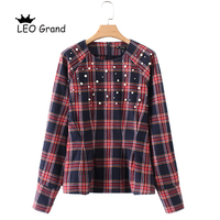 Leo Grand Vintage Women Pearls Beading Plaid Shirts O Neck Long Sleeve Autumn Blouses Ladies Casual