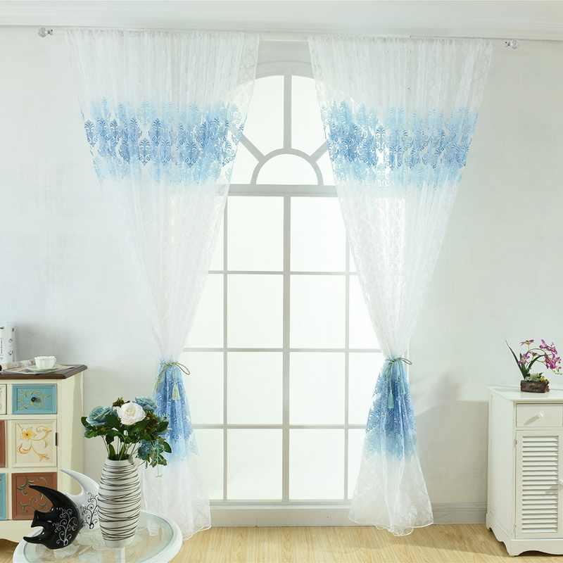 ללבוש מוט סניף שזיף אופסט פלורה דפוס מודפס חלון מסך CurtainLiving חדר וילון משלוח חינם מוצלב