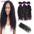 8A Grade Peruvian Virgin Human Hair Deep Wave 3 Bundles WIth 4*4 Lace Closure Deep Wave Raw Human Hair