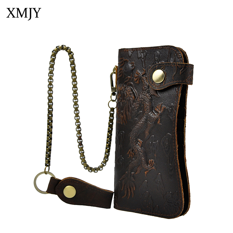 XMJY Genuine leather Men Clutch Wallets Fashion Vintage Dragon Tiger Emboss Cowhide Wallet Purse Card Holder With Iron Chain 2017 new cowhide genuine leather men wallets fashion purse with card holder hight quality vintage short wallet clutch wrist bag