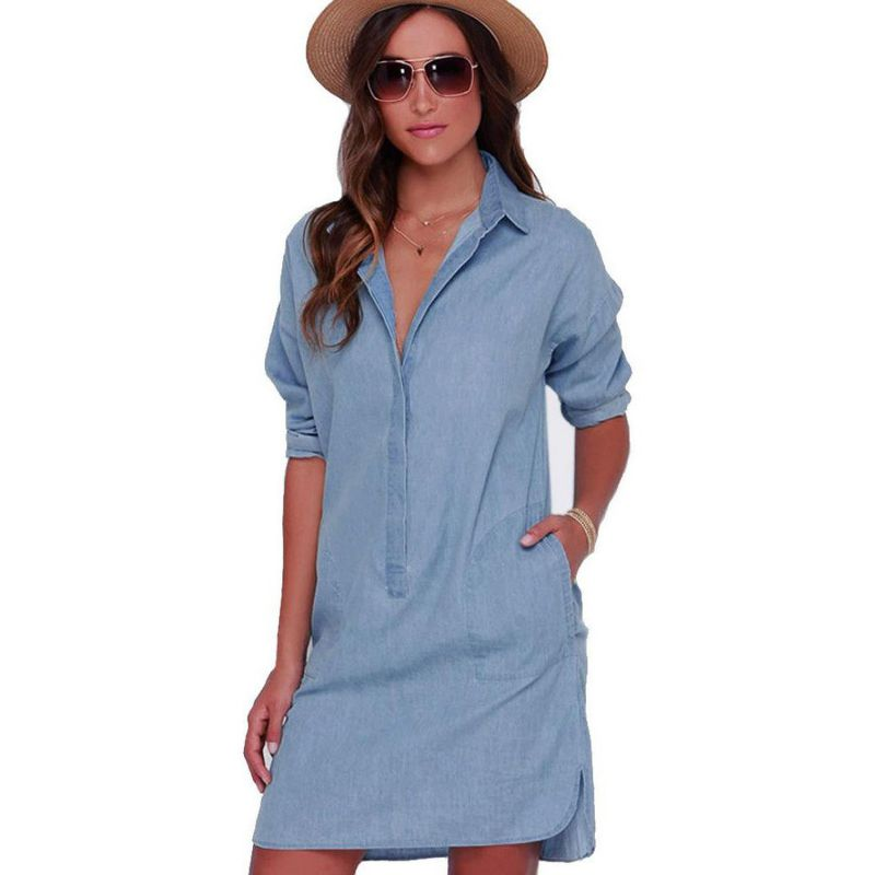 Women 39 s casual short mini dresses long sleeve denim jean Women s long sleeve shirt dress