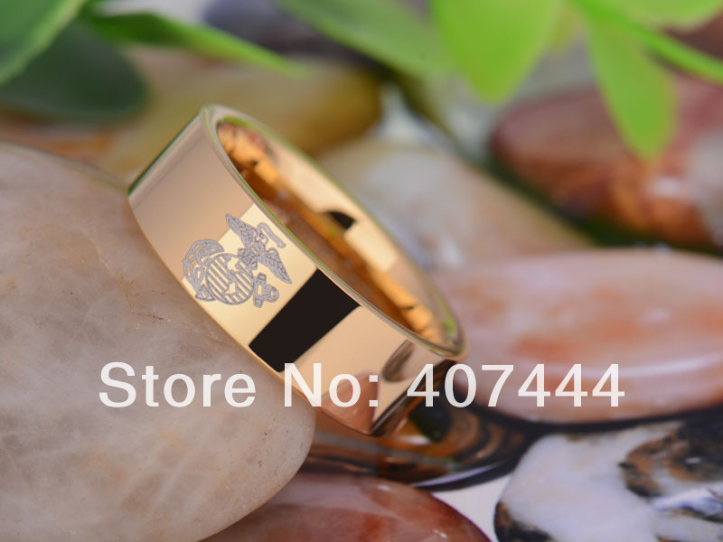 free shipping usa uk canada russia brazil hot sales 8mm gold pipe military army marines mens - Military Wedding Rings