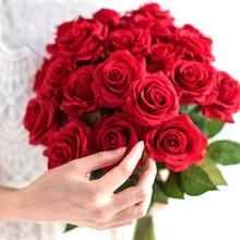 10 piezas lote rojo rosa artificial flor real táctil flores de látex imitación de silicona falso Rosa ramo decoración para la boda del hogar fiesta
