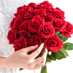 10 pcs lot red rose artificial flower real touch latex flowers faux silicone fake rose bouquet decoration for home wedding party(China)