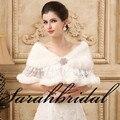 Cape casaco de casamento à venda encolher de ombros da noiva xale de pele capa decoração casaco de pele da pele do falso roubou casamento bolero branco 2015 Rendas Cryatsl
