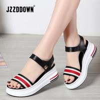 JZZDDOWN/женские летние босоножки на платформе; Женская обувь в сдержанном стиле; Разноцветные сандалии на высоком каблуке 6 см; повседневные са...