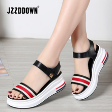 JZZDDOWN Womens Summer Platform Sandals Shoes Woman Concise Gingham Mixed Color Sandalias Mujer Heel High 6cm Casual Sandals