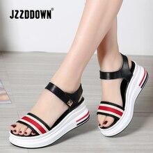 JZZDDOWN נשים של קיץ פלטפורמת סנדלי נעלי אישה תמציתי אריג צבעוני מעורב צבע Sandalias Mujer עקב גבוהה 6 cm מזדמן סנדלי
