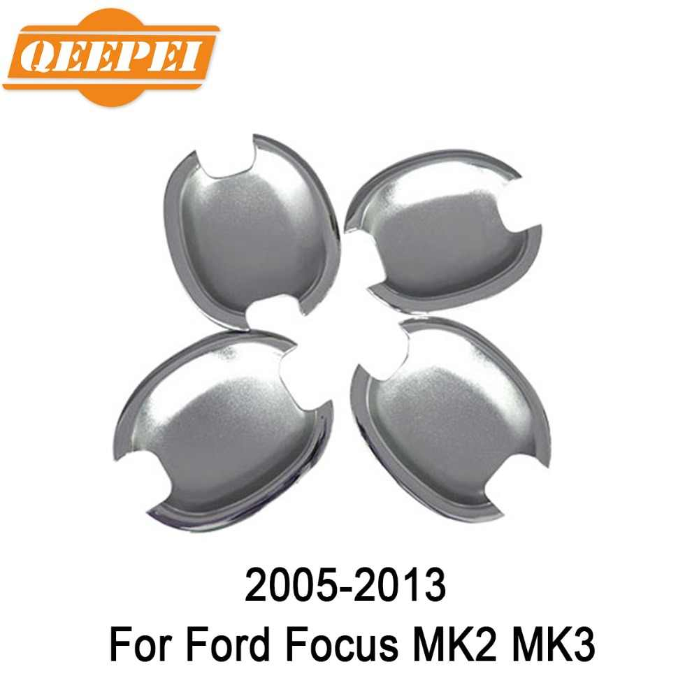 QEEPEI 4PCS For Ford Focus MK2 MK3 2005-2013 New Chrome Car Side Door Handle Cover Trim High Quality