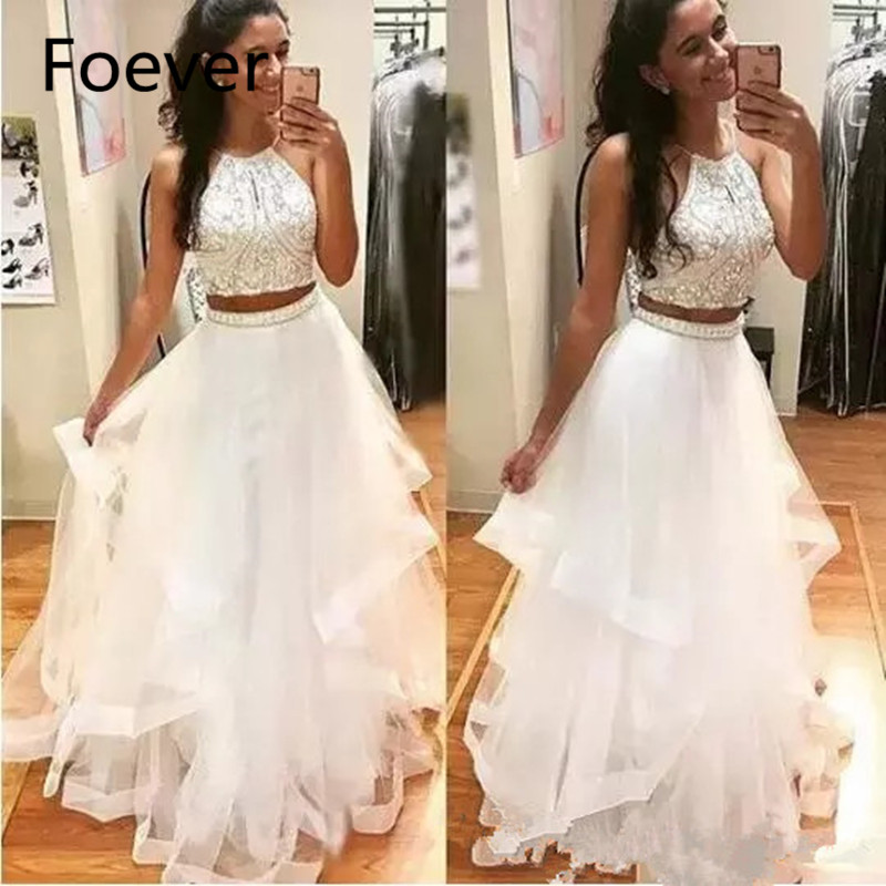 White Two Pieces Prom Dresses 2019 Halter Neck Long Tulle Crystal Beads 2 Pieces Open Back
