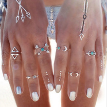 Bohemian retro exaggerated belief ring geometry blue lucky moon elephant personality ladies set