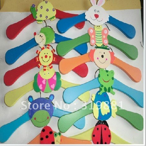 Childrens Clothes Hangers Baby Pants clip Cute Cartoon Wooden Hangers on Non Slip Firm Durable