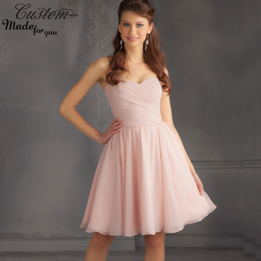 Online buy wholesale knee length light pink bridesmaid for Maid of honor wedding dresses