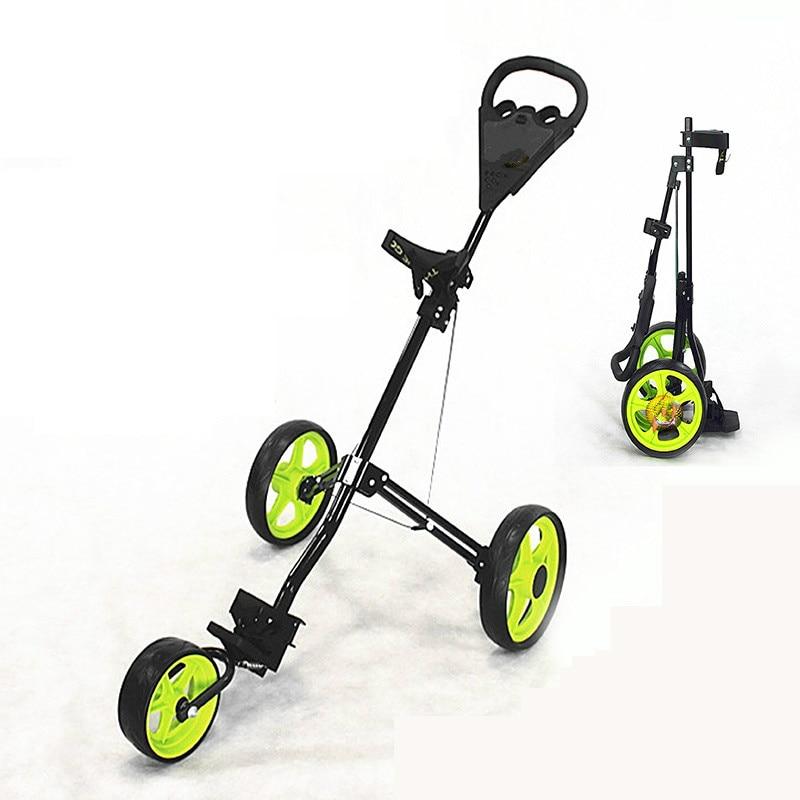 3 Wheel Golf Trolley Foldable Design Al-Alloy Material Golf Bag Carrier