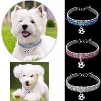 1pcs Pet Necklace Dog Cat Necklace 3 Color Rhinestone Drill Football Pendant Collar Pet Accessories cats products for pets