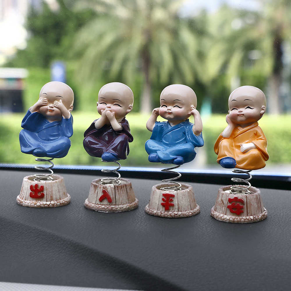 Car Ornaments 4Pcs/set Resin Bobble Heads Doll Figure Decoration Tomy Monks Maitreya Buddha Figure Gift Desk Auto Pendant Charms