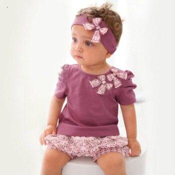 24 meses de Ropa para Niñas. Fábrica de ropa de verano para niñas. Conjunto de ropa púrpura para niñas. Tops de bebé kerst + short + diadema púrpura 3 uds.