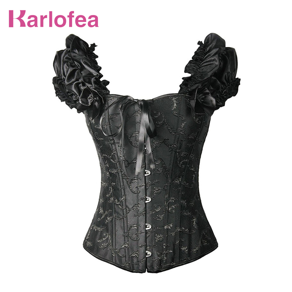 Karlofea Sexy Waist Trainer   Corset   Lace Up   Corsets   And   Bustiers   Black Waist Cincher   Corset   Burlesque Plus Size Gothic Shapewear