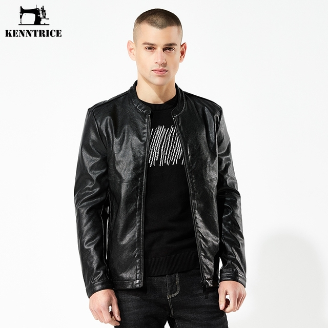 KENNTRICE Autumn Top Sell Motorcycle Mens Jackets 2018 Plain Classic Slim Fit Male Bomber Jacket Leather
