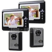 DIYSECUR 7 pulgadas Tft Lcd Sistema de Video IR Puerta Timbre Del Teléfono de la Seguridad Casera Del Intercomunicador 2 Cámara de 2 Monitor de