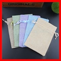 100pcs/lot small jute linen drawstring gift pouch bags