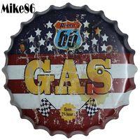 [ Mike86 ] Route 66 GAS Bottle Cap Metal Painting Vintage Souvenir Home Gift Party Store Wall Decor 40 CM BG 5