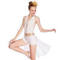 MiDee Lyrical Contemporary Costume Halter neck Half skirt Acro Jazz Latin Salsa Ice Skating Gymnastics White Dance Dress