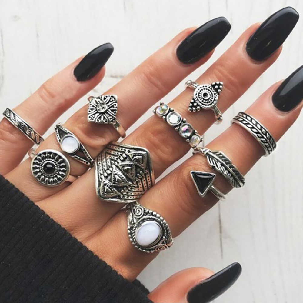 Fashion vintage ring boho variety ladies ring multi-element combination ring set national wind girl gift 2018