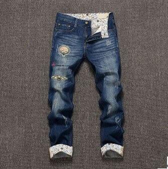 Новая молодежная мода высокое качество удобные свободного покроя мужчины широкий брюки длинные брюки прямо просто мужчины отверстие джинсы